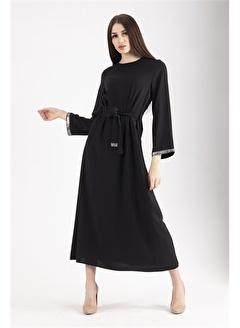 Belamore  Siyah Uzun Kollu Taşlı Tesettür Elbise 0104003.01